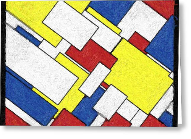 Repetition Paintings Greeting Cards - Mondrian Rectangles Greeting Card by Celestial Images