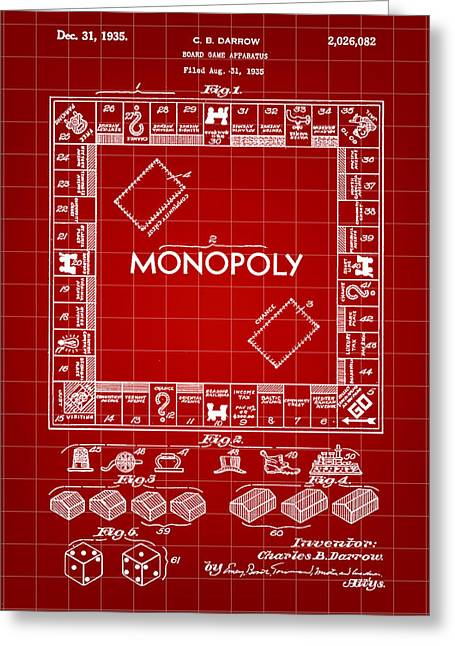 Monopoly Greeting Cards - Monopoly Patent 1935 - Red Greeting Card by Stephen Younts