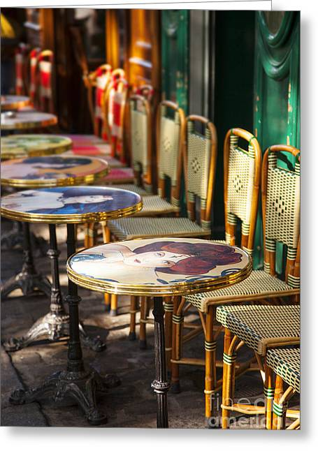 Empty Chairs Greeting Cards - Montmartre Cafe Greeting Card by Brian Jannsen