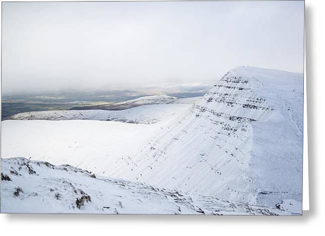 Cloud Inversion Greeting Cards - Moody dramatic low cloud inversion over mountain Winter landscap Greeting Card by Matthew Gibson