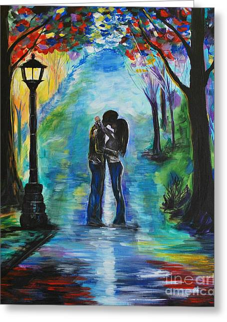 Couple Embracing Greeting Cards - Moonlight Kiss Greeting Card by Leslie Allen