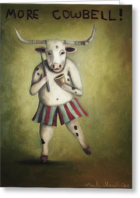 Cowbell Greeting Cards - More Cowbell Greeting Card by Leah Saulnier The Painting Maniac