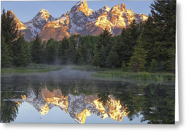 Wyoming Greeting Cards - Morning Reflection Greeting Card by Andrew Soundarajan