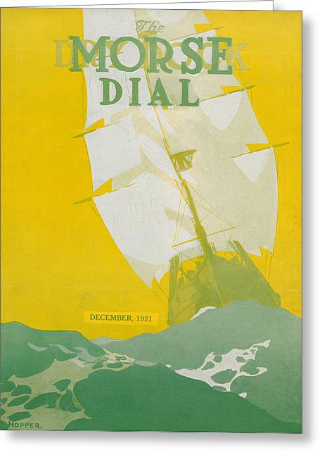 Blue Sailboat Greeting Cards - Morse Dry Dock Dial Greeting Card by Edward Hopper