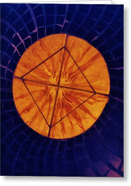 Table Ceramics Greeting Cards - Mosaic table top Greeting Card by Charles Lucas