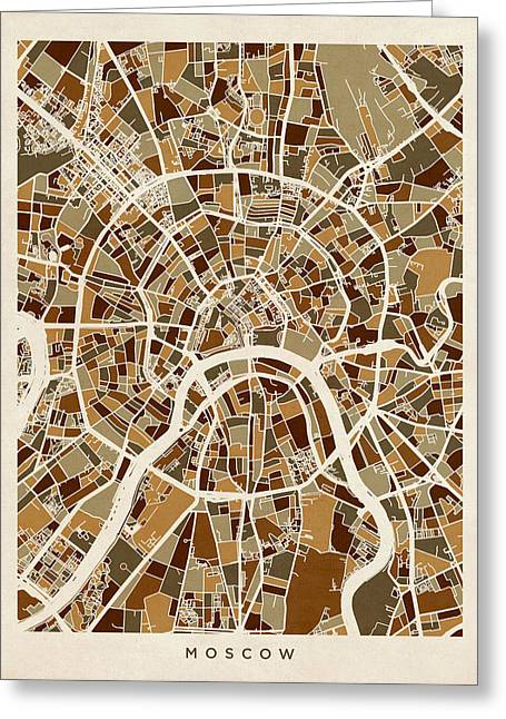 Street Maps Greeting Cards - Moscow City Street Map Greeting Card by Michael Tompsett