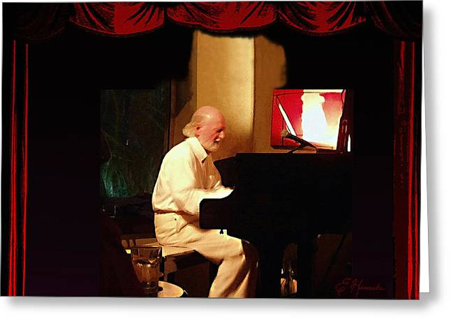 Recording Artists Greeting Cards - Mose Allison Greeting Card by Ellen Henneke
