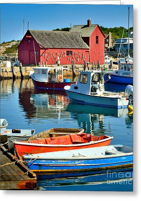 Red Fishing Shack Greeting Cards - Motif Number One Rockport Lobster Shack Maritime Greeting Card by Jon Holiday