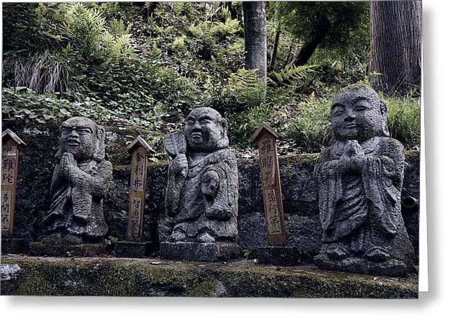Arashiyama Greeting Cards - 3 Mountain Buddhas Greeting Card by Daniel Hagerman