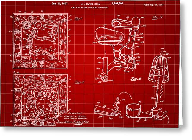 Ideal Digital Art Greeting Cards - Mouse Trap Board Game Patent 1962 - Red Greeting Card by Stephen Younts