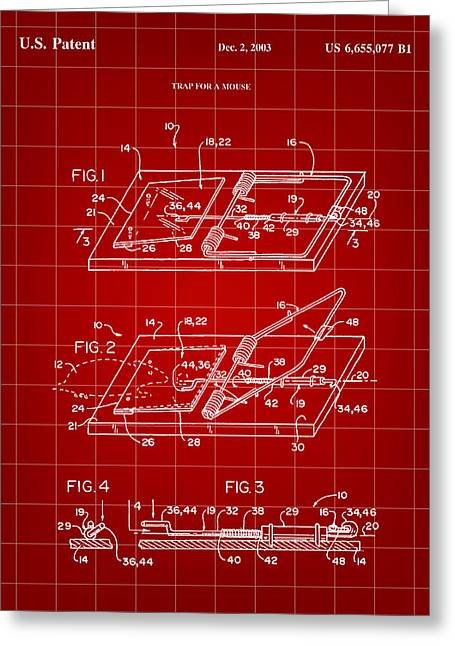Exterminator Greeting Cards - Mouse Trap Patent - Red Greeting Card by Stephen Younts