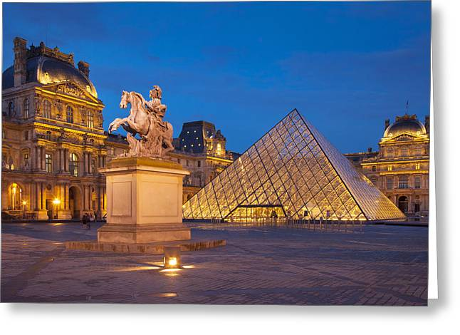 Night Lamp Greeting Cards - Musee du Louvre Greeting Card by Brian Jannsen