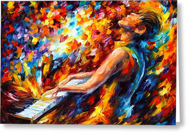 Owner Greeting Cards - Music Fight  Greeting Card by Leonid Afremov