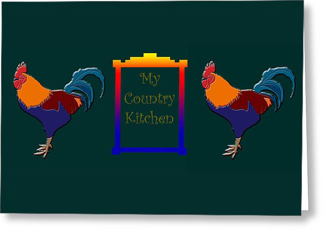 My Country Kitchen Sign Greeting Card by Kate Farrant