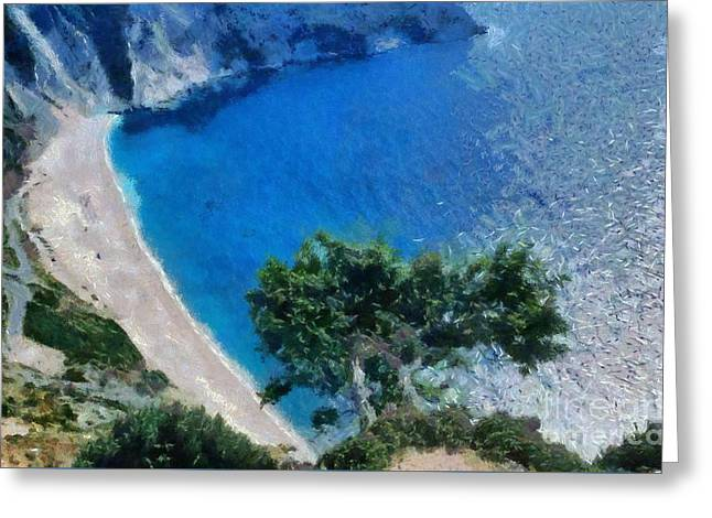 View Greeting Cards - Myrtos beach in Kefallonia island Greeting Card by George Atsametakis
