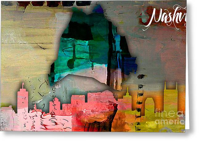 Best Sellers -  - Nashville Tennessee Greeting Cards - Nashville Skyline and Map Watercolor Greeting Card by Marvin Blaine