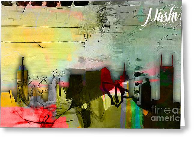 Nashville Skyline Watercolor Greeting Card by Marvin Blaine