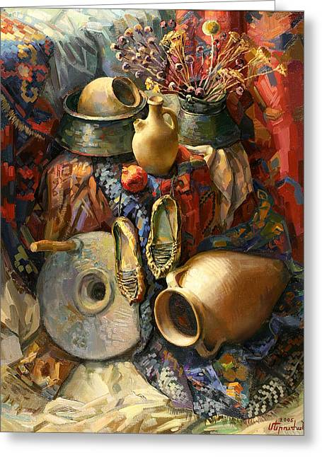 Armenia Greeting Cards - National Armenian still-life Greeting Card by Meruzhan Khachatryan