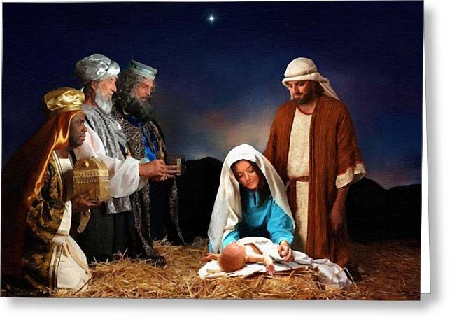 Religious Art Paintings Greeting Cards - Nativity Greeting Card by Victor Gladkiy