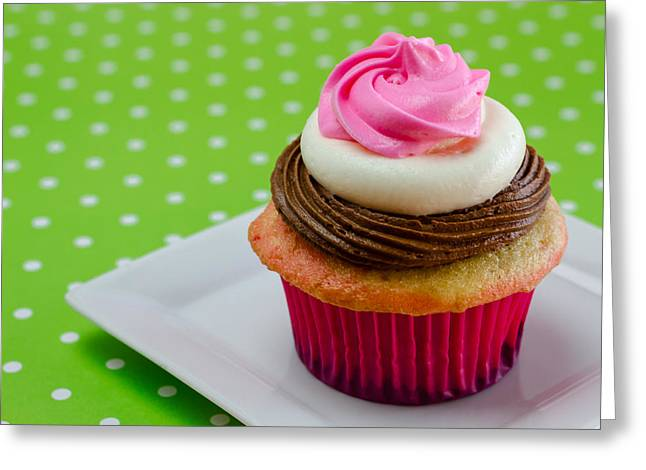 Frosting Greeting Cards - Neapolitan Cupcakes Greeting Card by Teri Virbickis