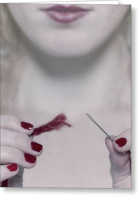 Red Nail Polish Greeting Cards - Needle And Thread Greeting Card by Joana Kruse