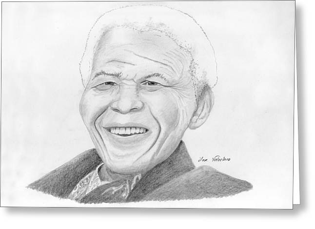 Portrait Art Greeting Cards - Nelson Mandela Greeting Card by Jose Valeriano