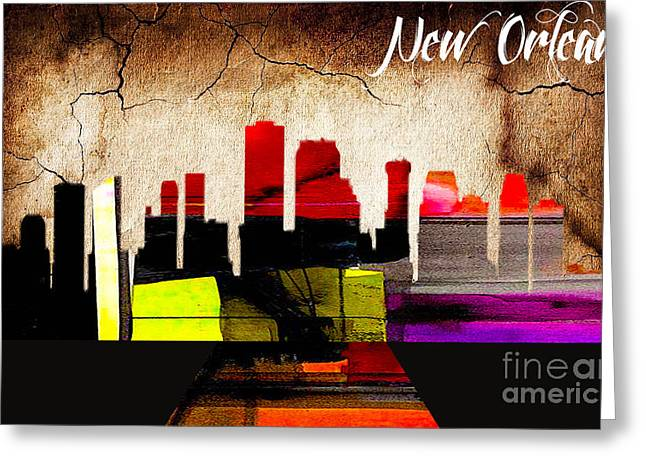 City Art Greeting Cards - New Orleans Skyline Watercolor Greeting Card by Marvin Blaine