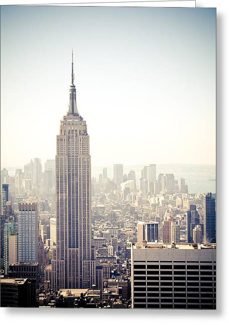 Top Of The Rock Greeting Cards - New York City - Empire State Building Greeting Card by Thomas Richter