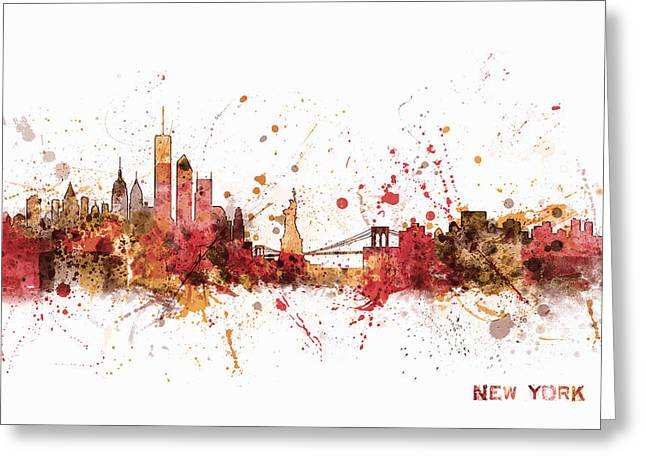 Silhouettes Greeting Cards - New York Skyline Greeting Card by Michael Tompsett