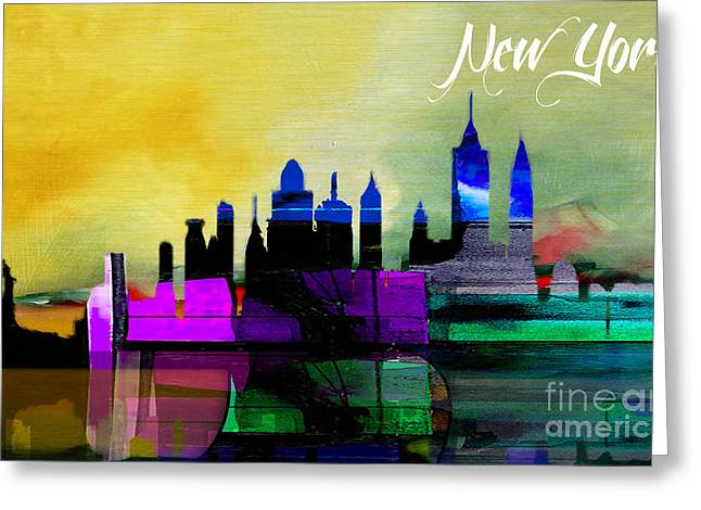 New York Skyline Watercolor Greeting Card by Marvin Blaine