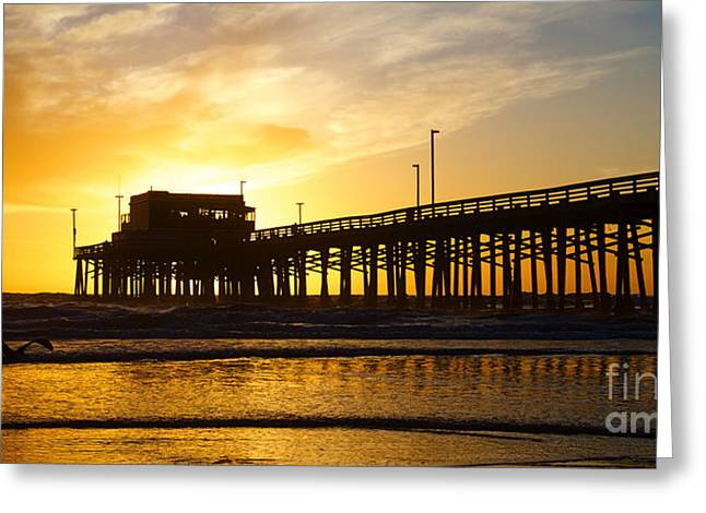 Newport Greeting Cards - Newport Beach California Pier at Sunset in the Golden Silhouette Greeting Card by ELITE IMAGE photography By Chad McDermott