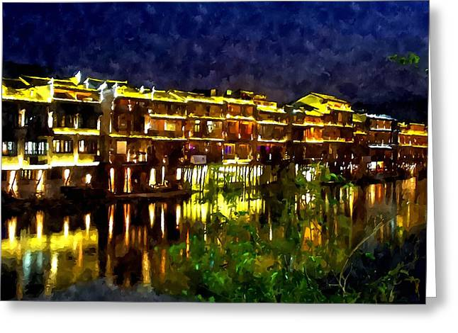 Fenghuang Greeting Cards - Night-view at Phoenix Town  Greeting Card by Lanjee Chee