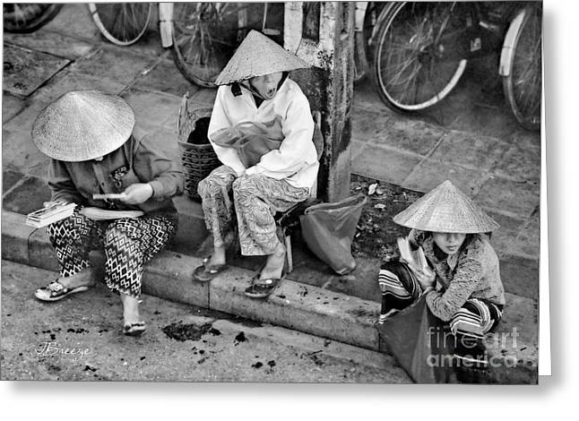 Matting Greeting Cards - 3 Non la in Hoi An-Vietman-BW Greeting Card by Jennie Breeze
