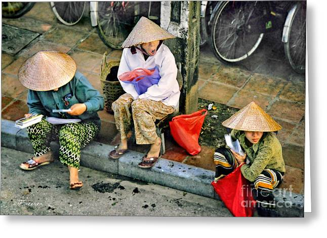 Matting Greeting Cards - 3 Non la in Hoi An-Vietman Greeting Card by Jennie Breeze