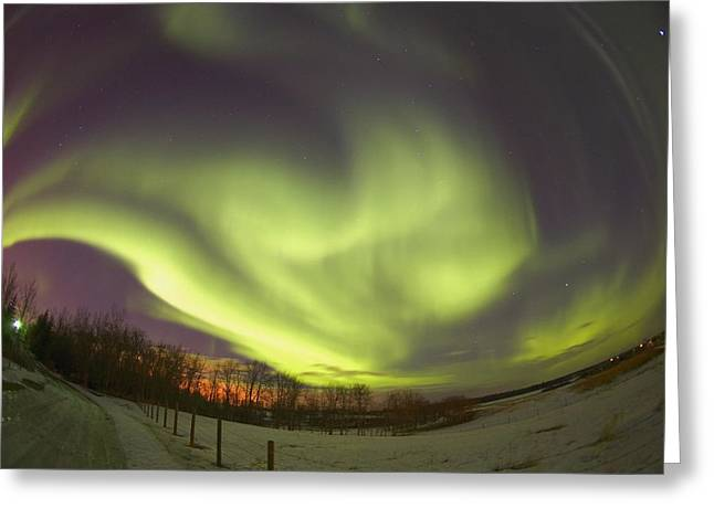 Abstract Movement Greeting Cards - Northern Lights, Edmonton, Alberta Greeting Card by Carson Ganci