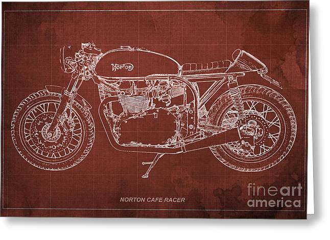 Norton Cafe Racer Blueprint Greeting Card by Pablo Franchi