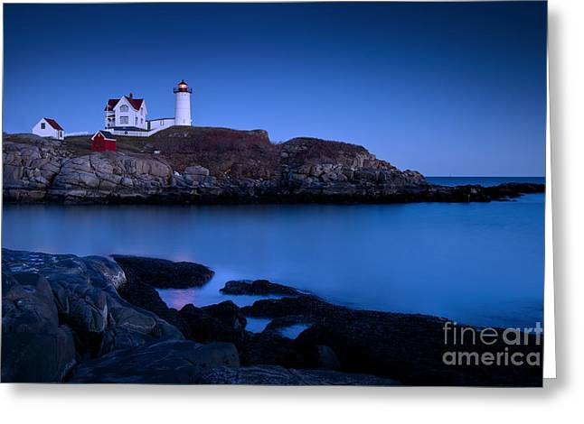 New England Lighthouse Photographs Greeting Cards - Nubble Lighthouse Greeting Card by Brian Jannsen