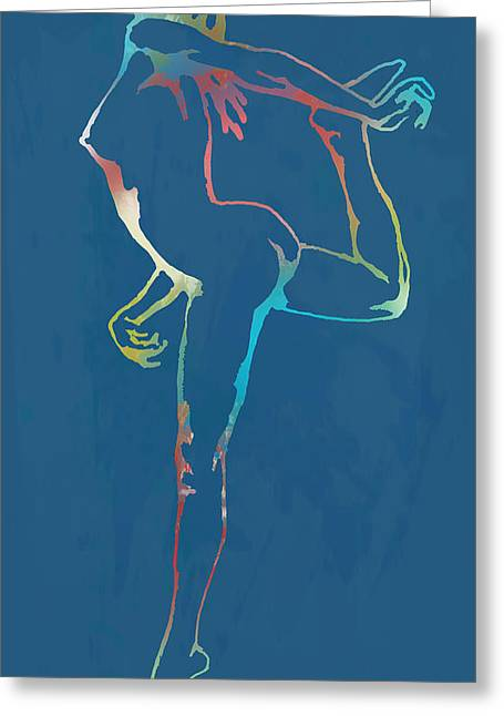 Nude Dancing Pop Stylised Art Poster Greeting Card by Kim Wang