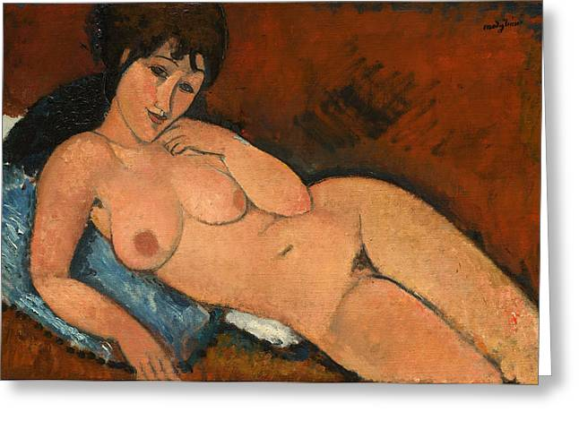Nude On A Blue Cushion Greeting Cards - Nude on a Blue Cushion Greeting Card by Amedeo Modigliani
