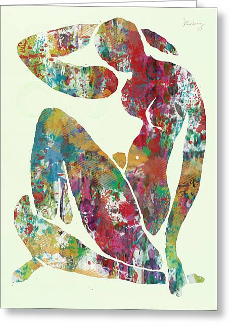 Featured Drawings Greeting Cards - Nude pop stylised paper cut art poster Greeting Card by Kim Wang
