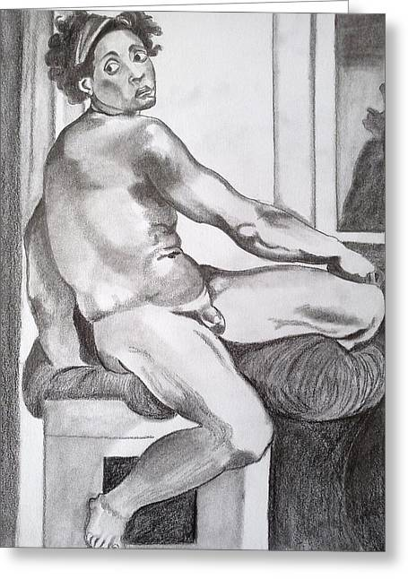 Buonarroti Drawings Greeting Cards - Nude youth Greeting Card by Franca Sorice