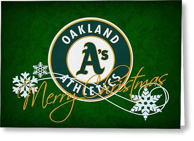 Baseball Field Greeting Cards - OAKLAND As Greeting Card by Joe Hamilton