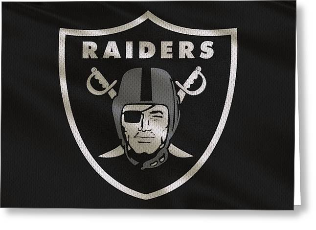 Raider Greeting Cards - Oakland Raiders Uniform Greeting Card by Joe Hamilton