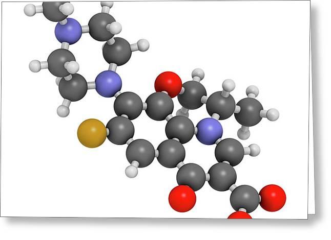 Ofloxacin Fluoroquinolone Antibiotic Drug Greeting Card by Molekuul