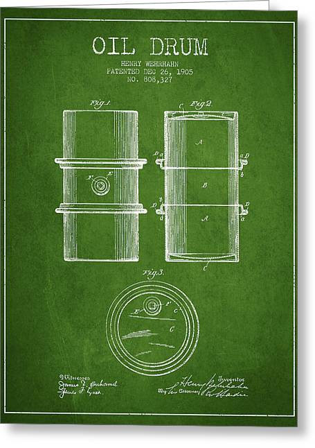 Oil Industry Greeting Cards - Oil Drum Patent Drawing From 1905 Greeting Card by Aged Pixel