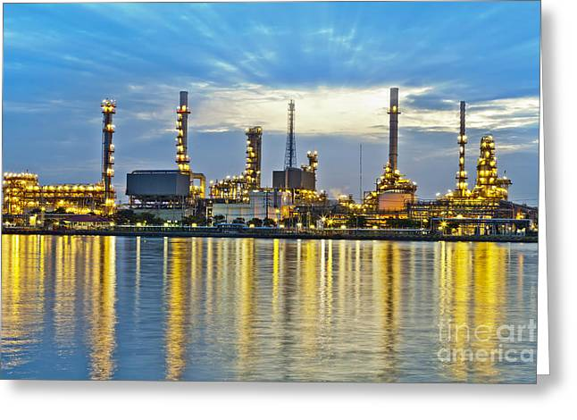 Polluting Greeting Cards - Oil refinery Greeting Card by Anek Suwannaphoom