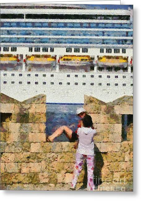 Rhodes Greeting Cards - Old fortification and cruise ship Greeting Card by George Atsametakis