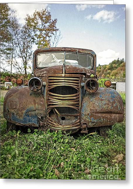 Old Automobile Greeting Cards - Old Junker Car Greeting Card by Edward Fielding