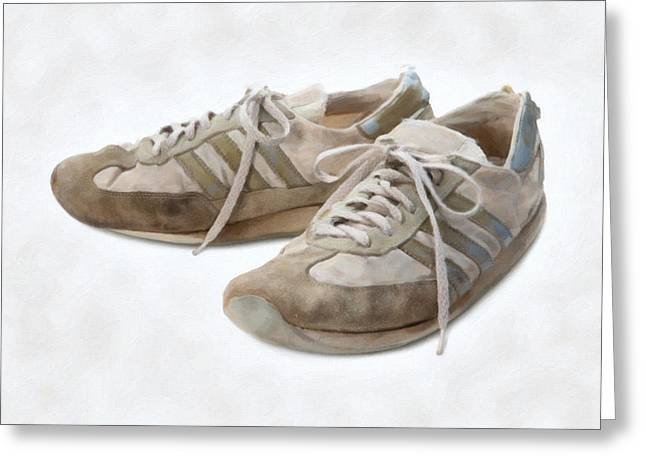 Sneaker Lace Greeting Cards - Old Running Shoes Greeting Card by Danny Smythe