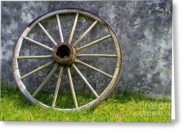 Wagon Wheels Photographs Greeting Cards - Old Wagon Wheel Greeting Card by Olivier Le Queinec
